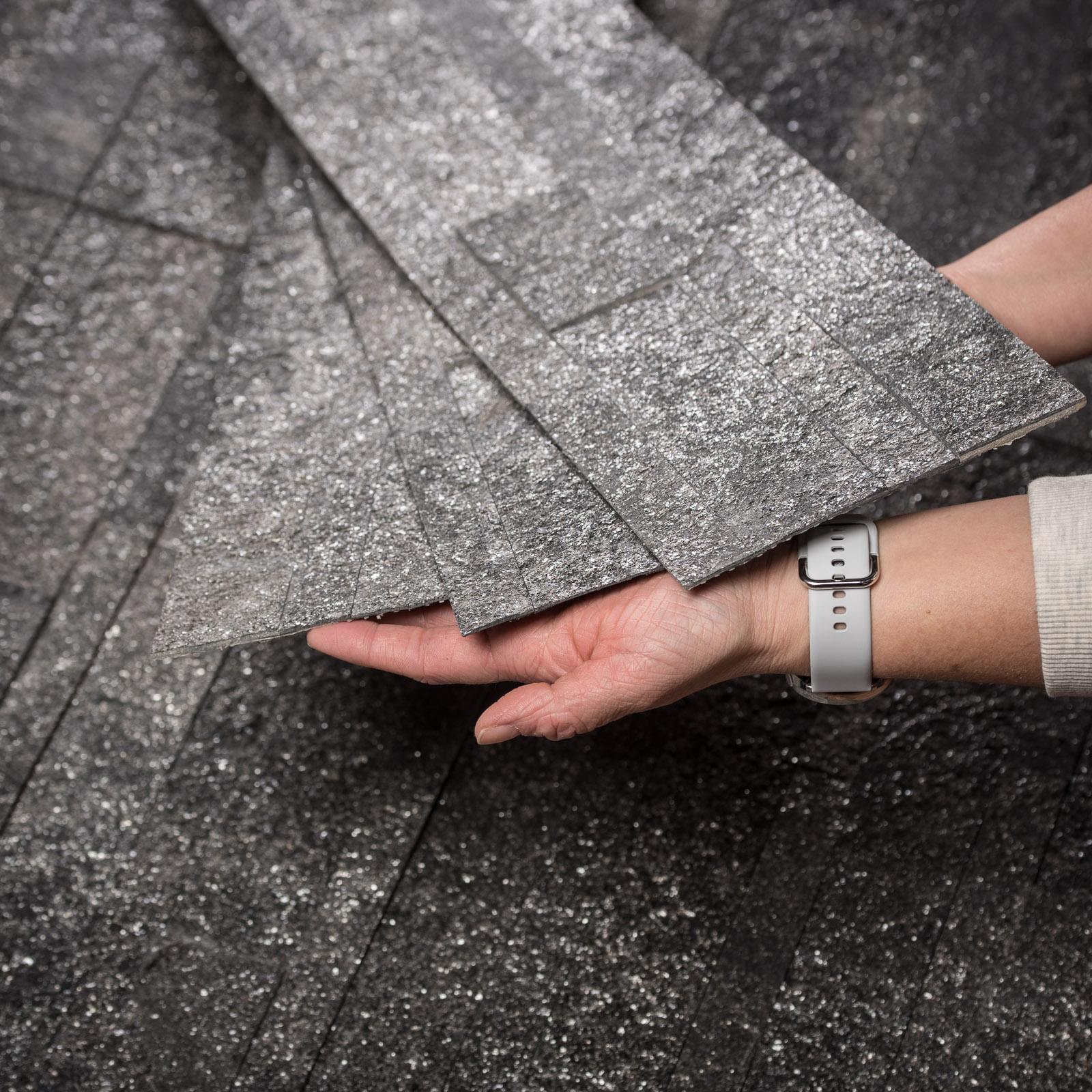 Muster Teakwood Dünnschiefer Verblender dünn Schieferfurnier Steintapete